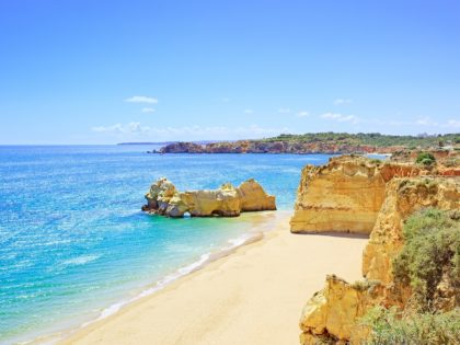 Beach and rock formation known as Praia da Rocha
