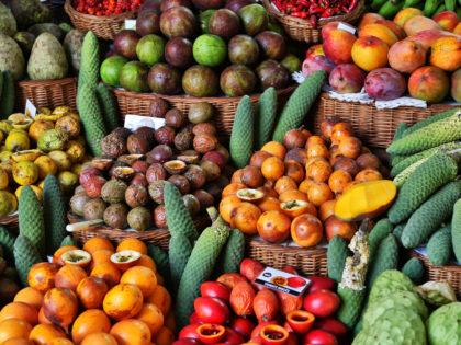 Fresh fruits in Mercado Dos Lavradores Funchal, Madeira