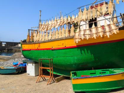 View of fishing boat and dry fish hanging in Camara de Lobos town