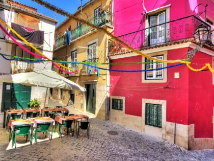Beautiful wide angle image of the tight streets with lots of colors in Lisbon