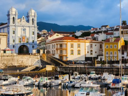 Colorful, bright view on the city Angra do Heroismo, Terceira island, Azores islands. Good for postcards. Early morning after storm.