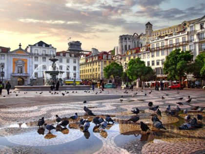 Rossio Square in old downtown Lisbon
